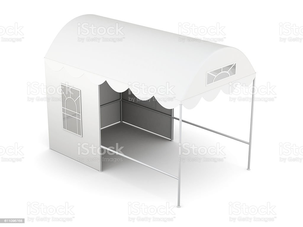 Top view folding tent isolated on white background. 3d rendering stock photo