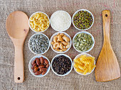 Top view food and grains.