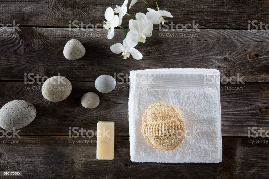 top view for detox spa with loofah and zen symbols stock photo