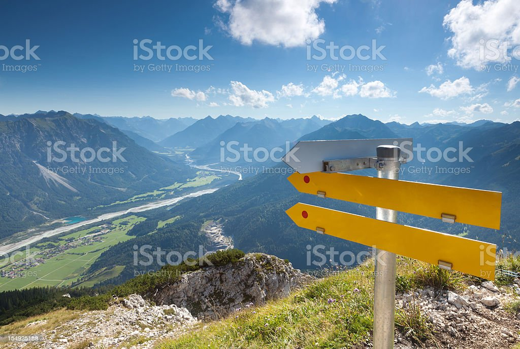 top view from alps in tirol - austria, trial sign royalty-free stock photo
