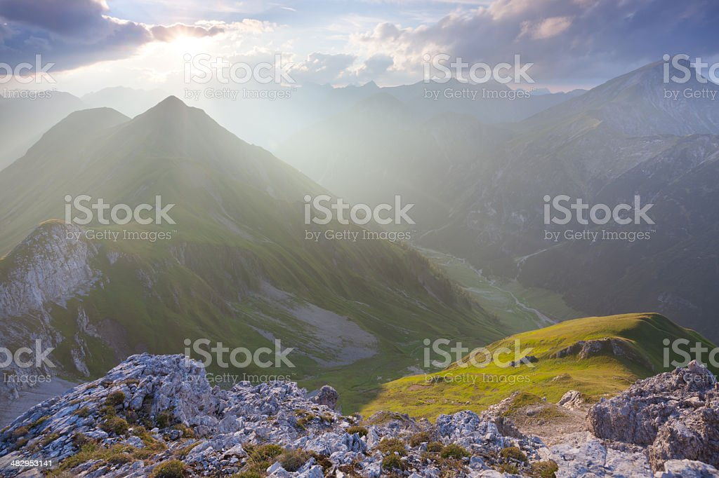 top view from mt. falschkogel in tirol, austria, backlight stock photo