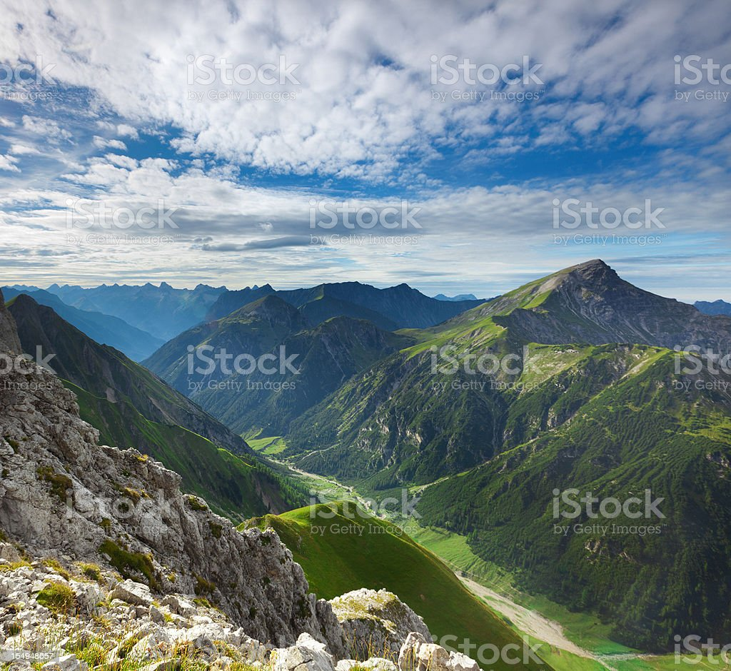 top view from mt. falschkogel in tirol, austria stock photo