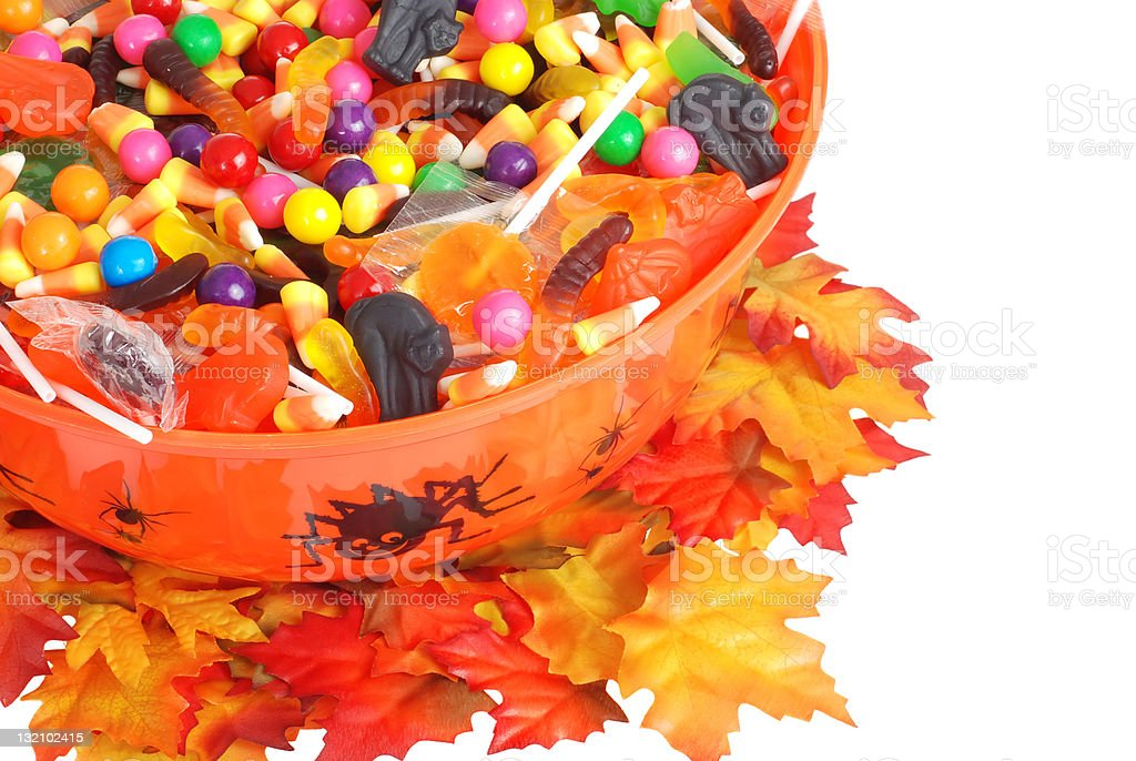 top view halloween candy bowl royalty-free stock photo