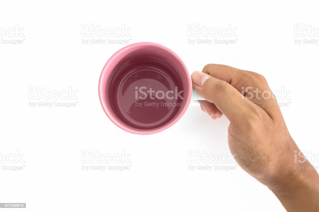 top view hand sign posture hold coffee cup in isolated stock photo