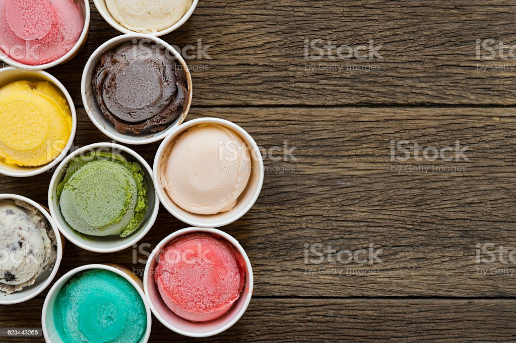 Top view Ice cream flavors in cup on blackground stock photo