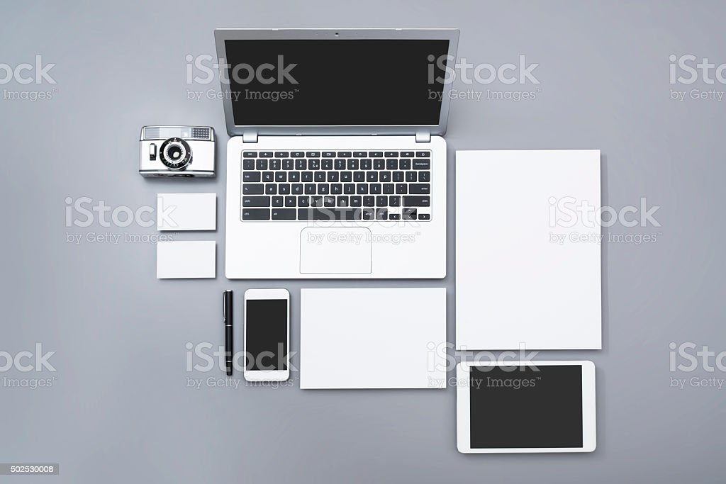 Top view identity design mockup stock photo