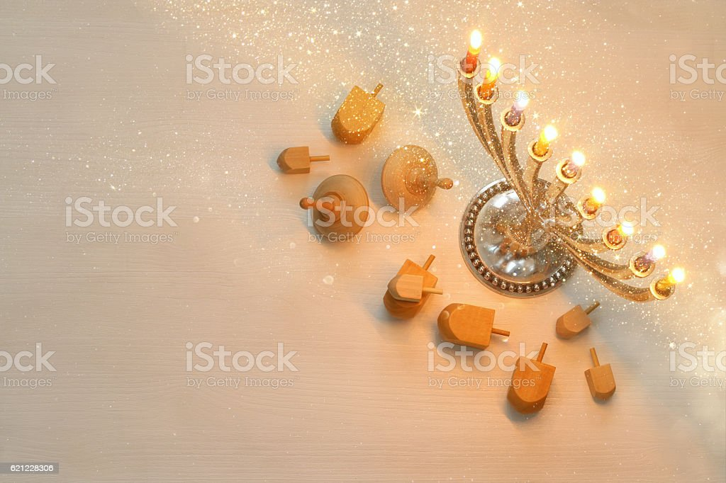 Top view Image of jewish holiday Hanukkah stock photo