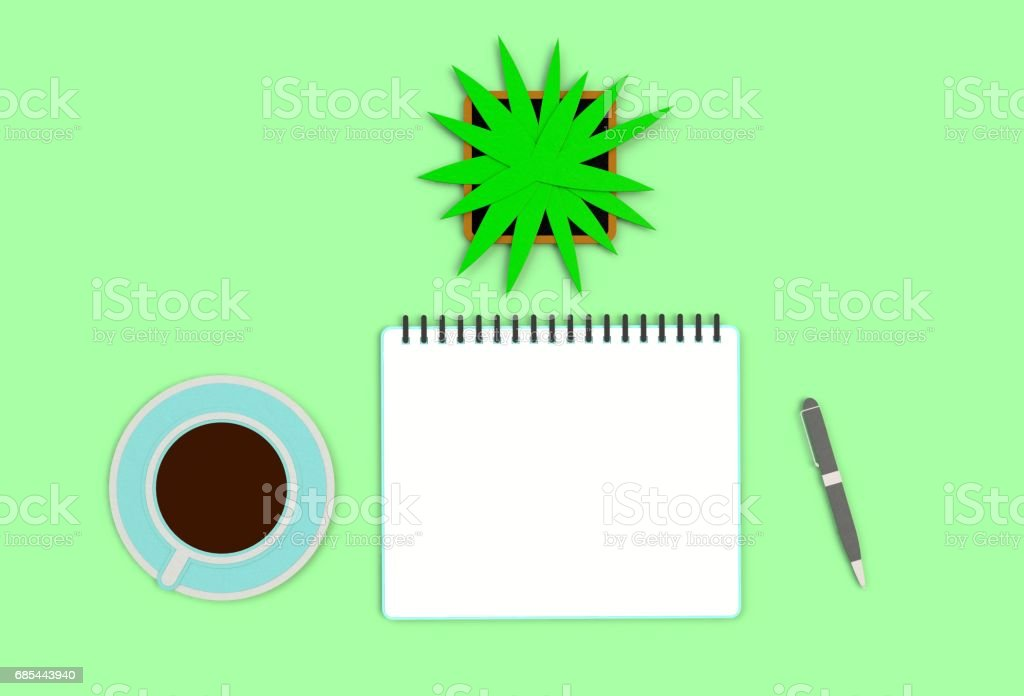 Top view image of open notebook with blank pages next to cup of coffee on green table. ready for adding text or mockup. paper art and craft style. stock photo