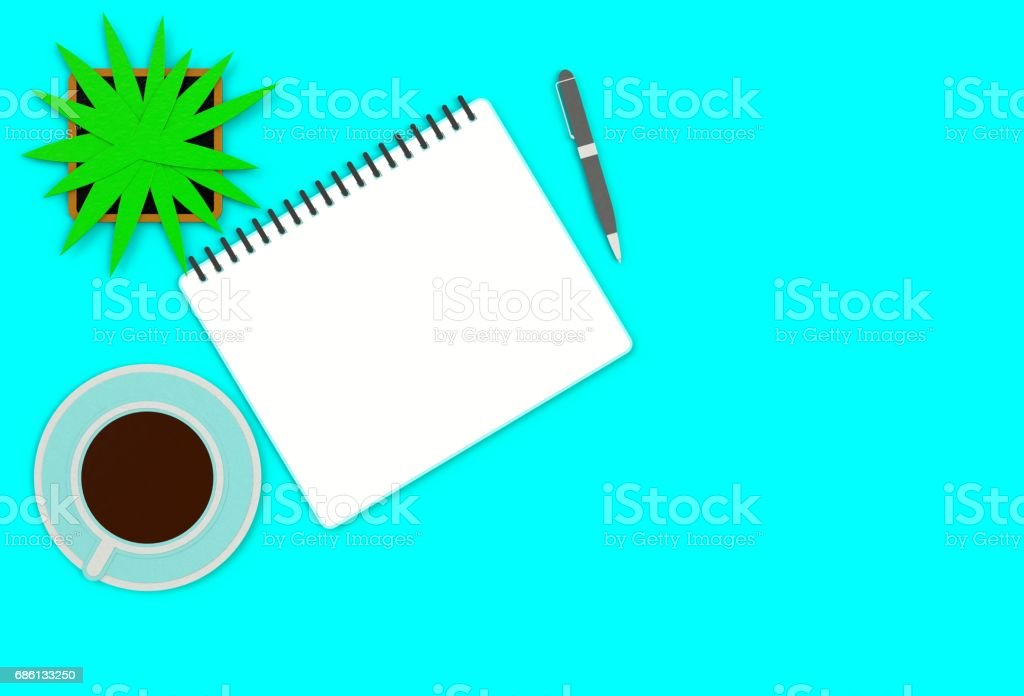 Top view image of open notebook with blank pages next to cup of coffee on blue table. ready for adding text or mockup. paper art and craft style. stock photo
