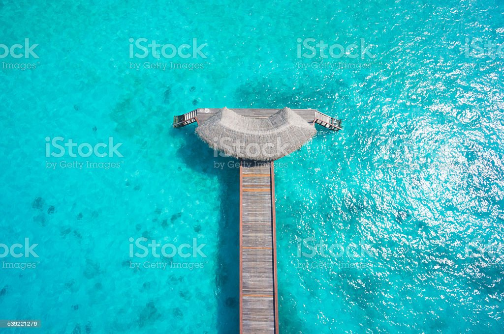 top view jetty in indian ocean stock photo