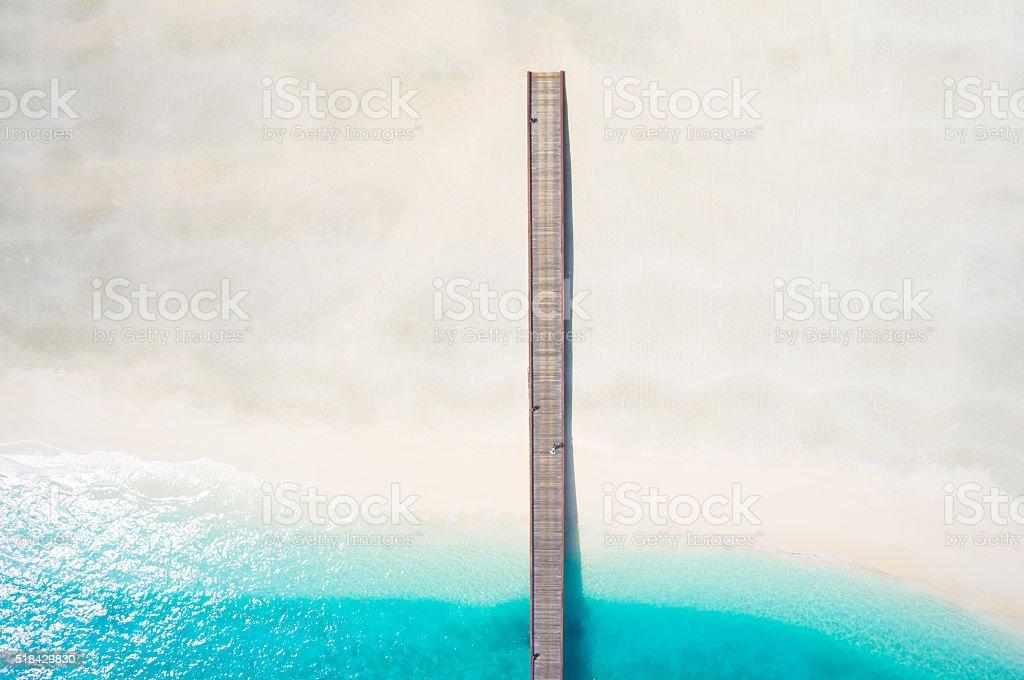 top view jetty lagoon broad sandy beach stock photo