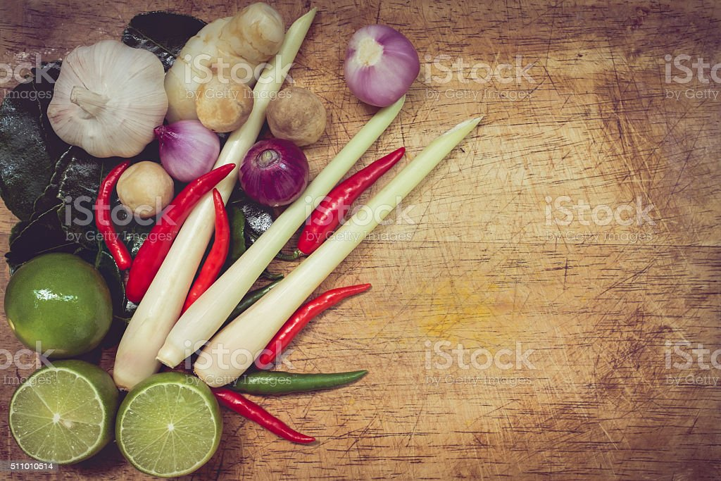 Top view. Kaffir lime leaf, lemon, lemongrass, galangal, chili, stock photo