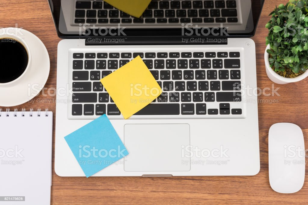 Top view laptop or notebook workspace office stock photo