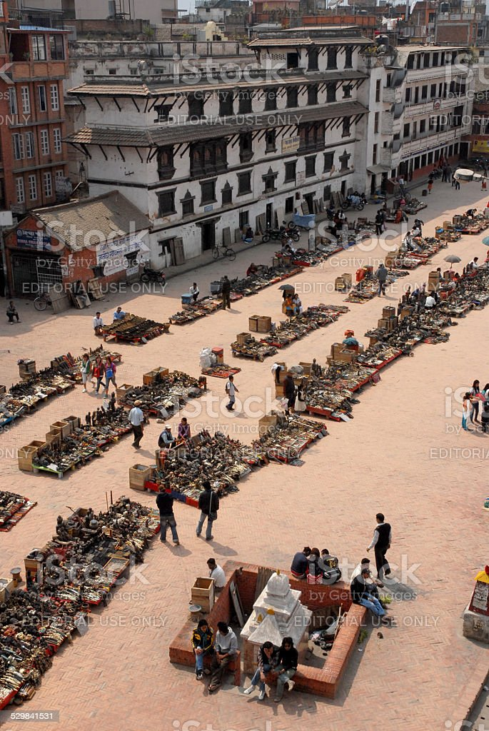 Top view market street of entrance to Durbar Square,Nepal. stock photo