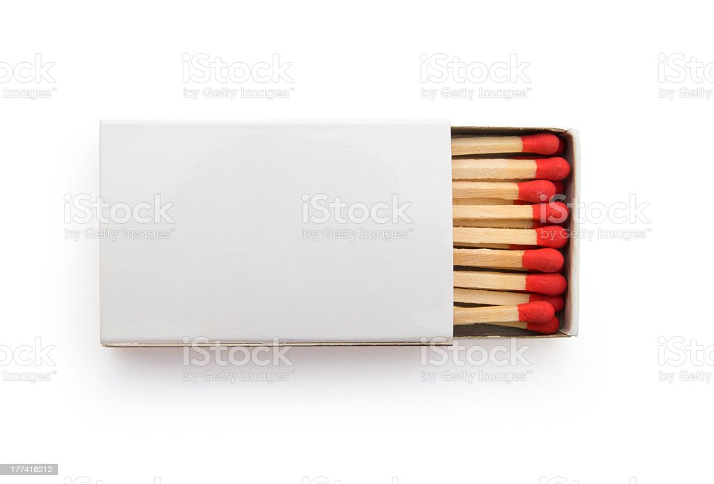 top view matchbox on white stock photo