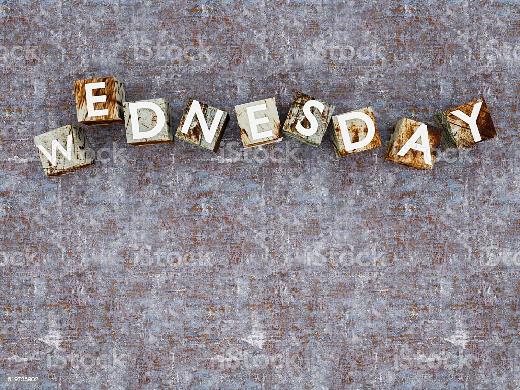 top view metallic cubes with WEDNESDAY against metal texture stock photo