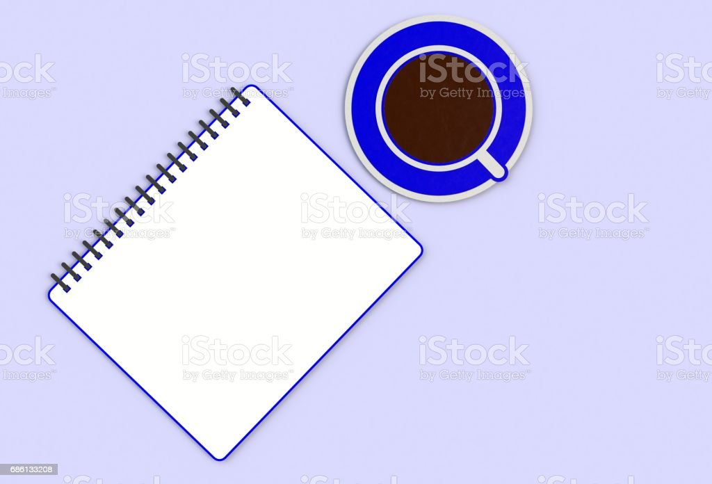 Top view notebook with cup of coffee on blue desk, paper art and craft style. stock photo