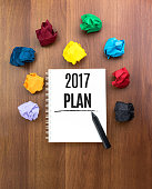 Top view of 2017 plan on open notebook with pencil