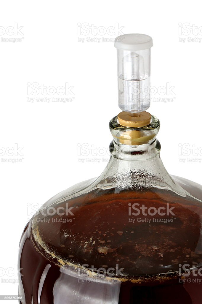 Top View of a Carboy of Fermenting Homebrew Beer stock photo