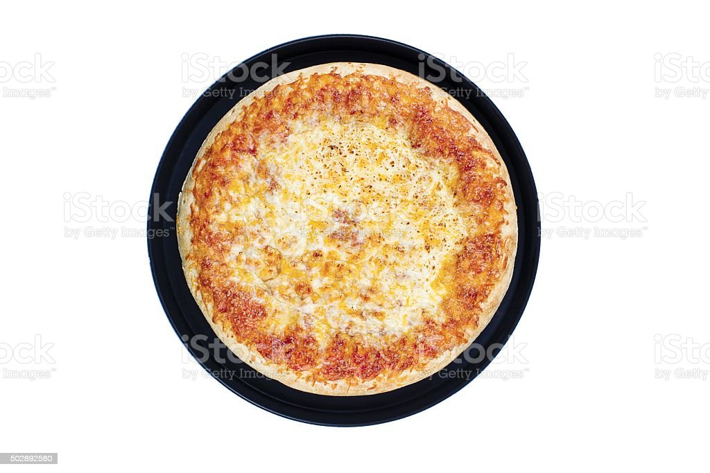 top view of a cheese pizza stock photo