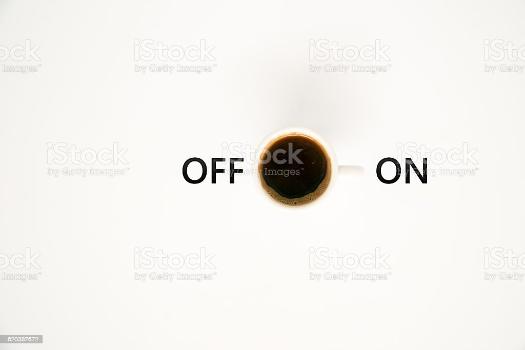 Top view of a cup of coffee, isolate on white stock photo