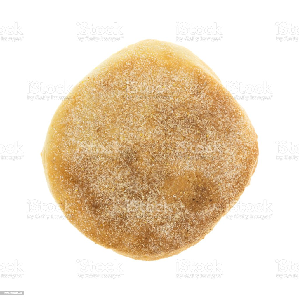 Top view of a freshly baked English muffin stock photo