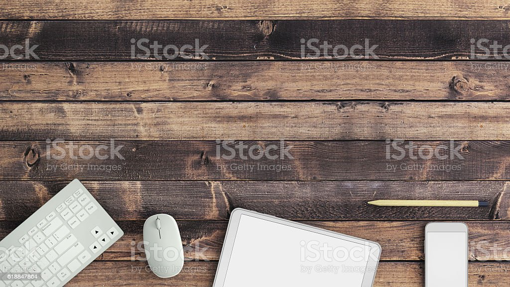Top view of a half empty desk stock photo