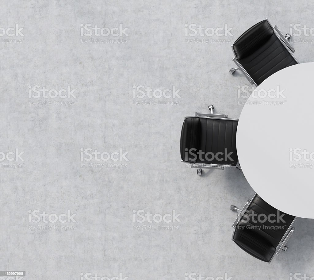 Top view of a half of the conference room. stock photo
