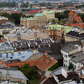 Top view of a historic buildings of Krakow, Poland.