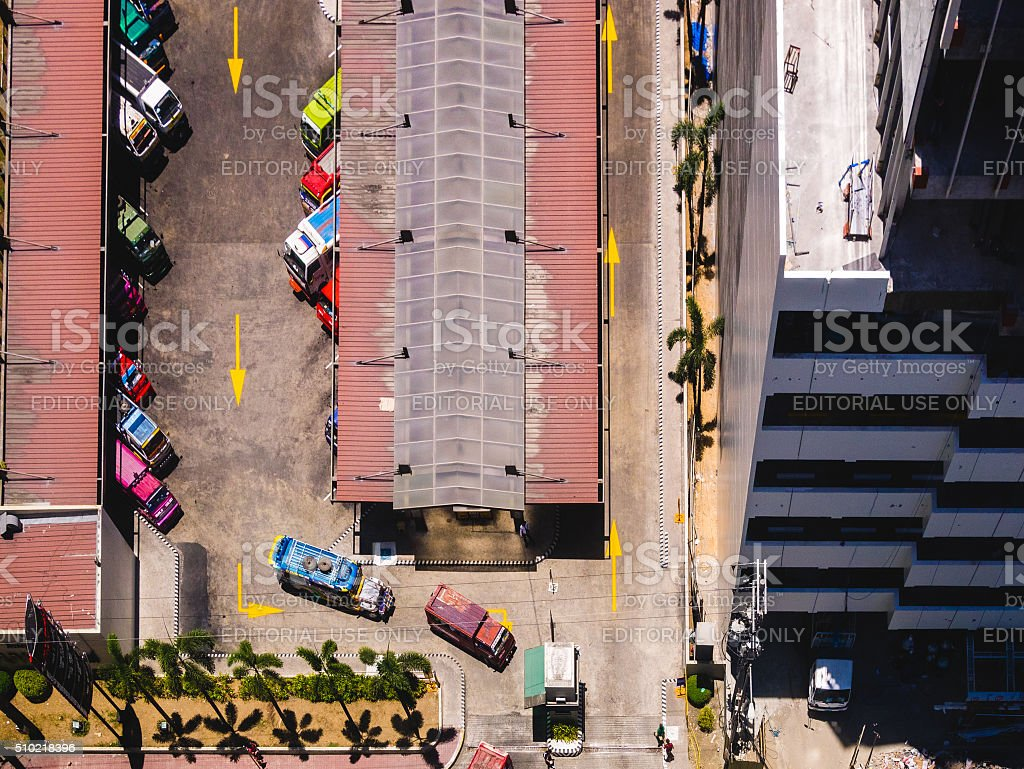Top view of a jeepney terminal in Cebu City stock photo