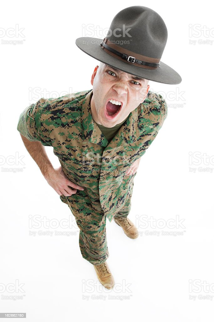 A top view of a male drill instructor yelling stock photo