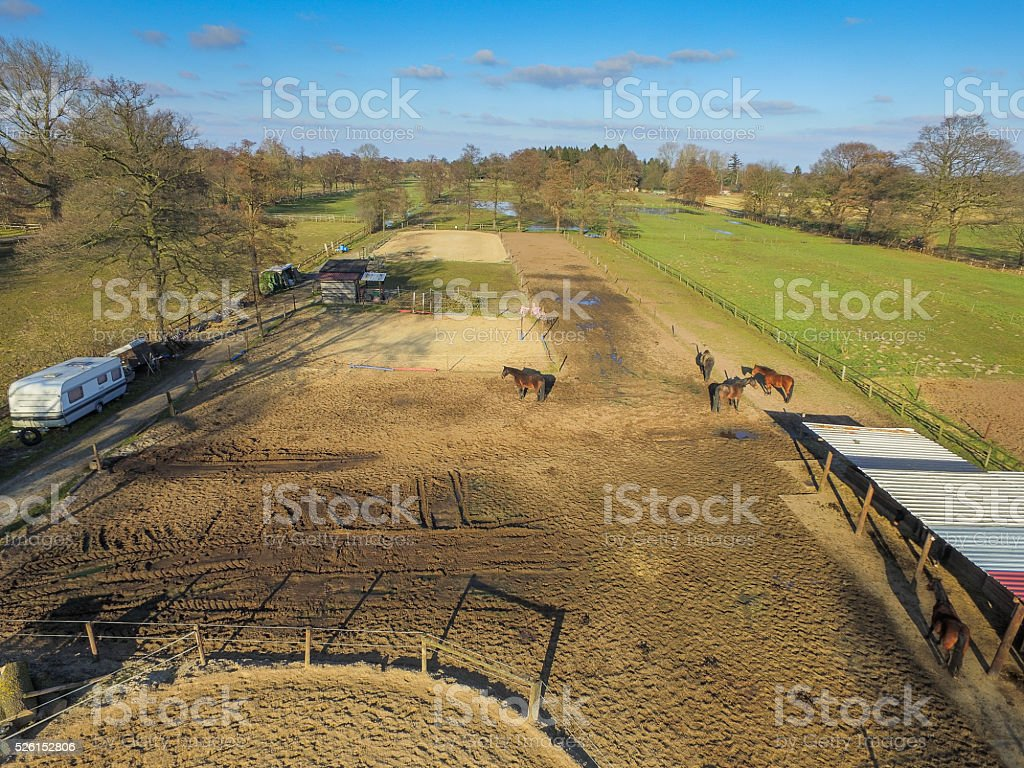 Top view of a meadow with horses and stables stock photo