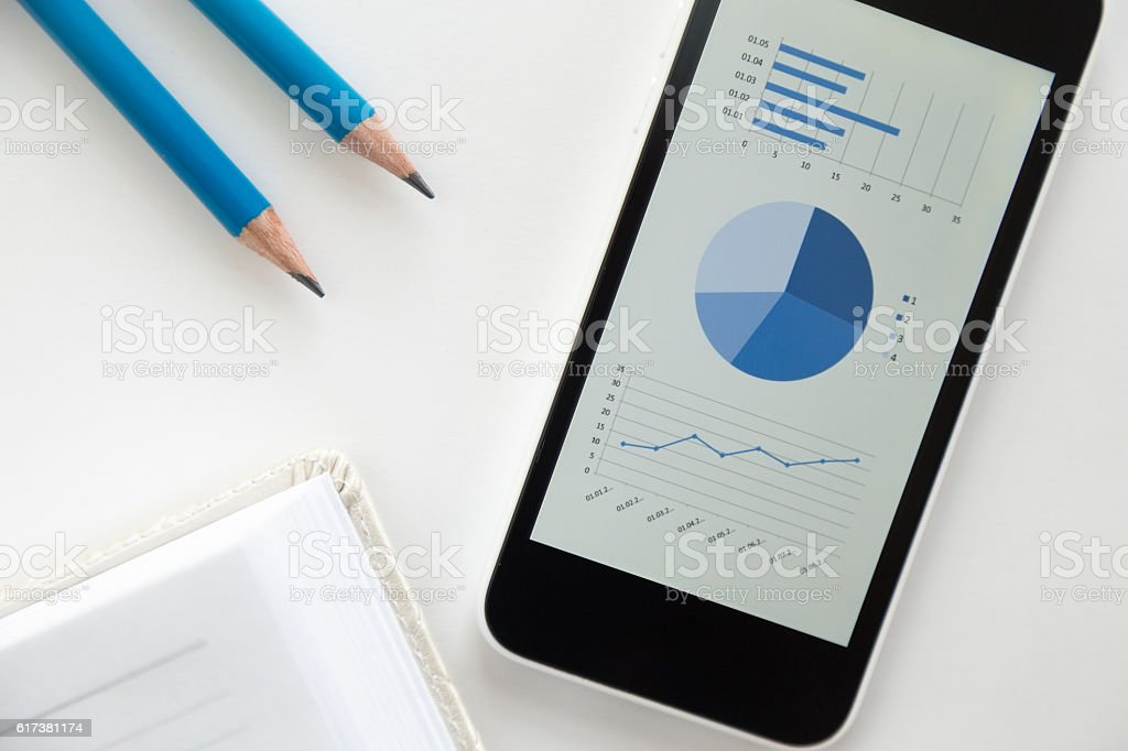 Top view of a mobile phone on a desk, diagram stock photo