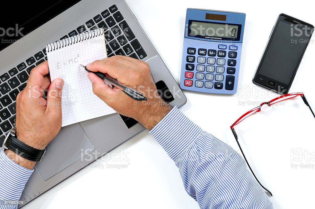 Top view of a modern business desk stock photo