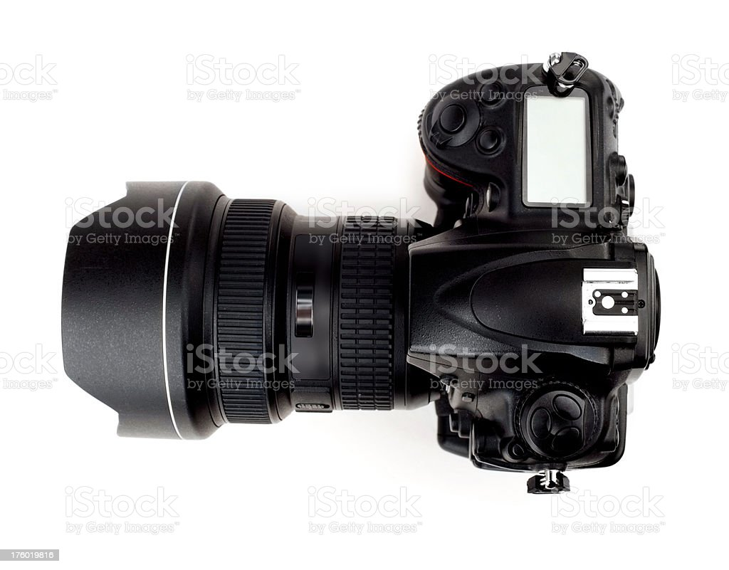 Top view of a modern digital photo camera stock photo