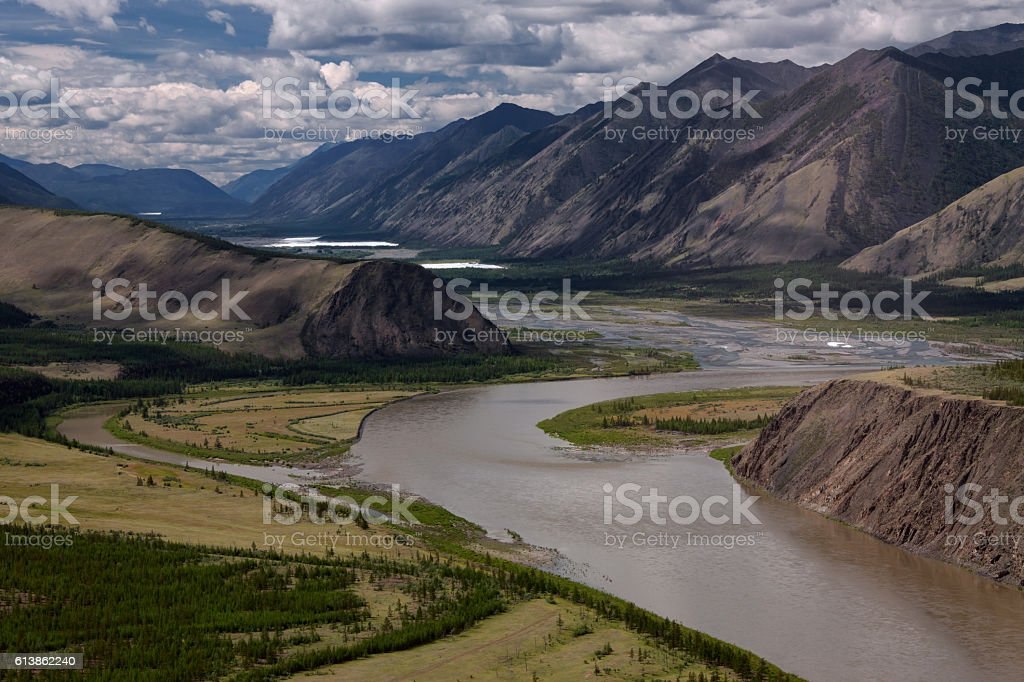 Top view of a river bend. stock photo