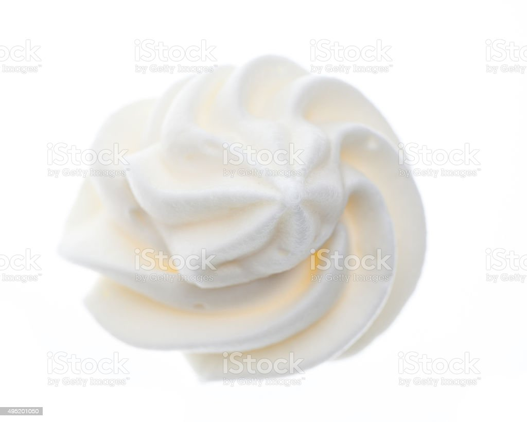 top view of a 'rose' made of whipped cream stock photo