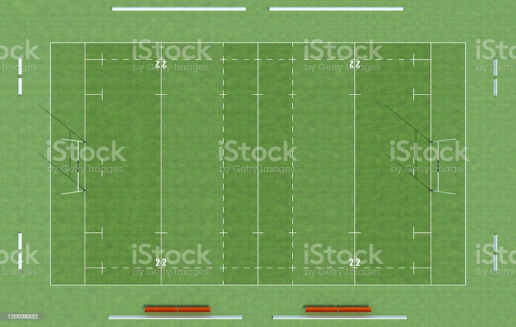 top view of a rugby field stock photo