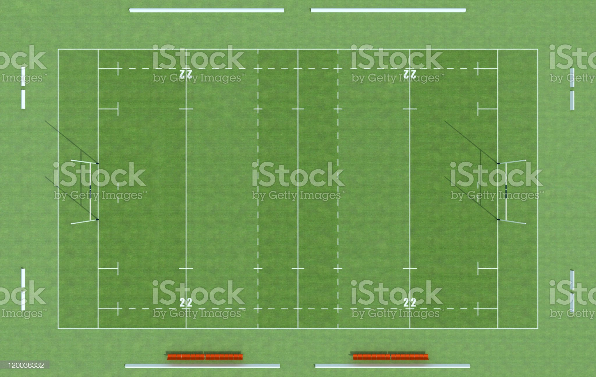 top view of a rugby field royalty-free stock photo