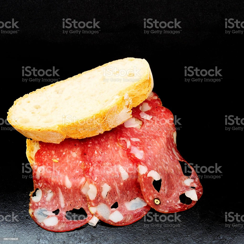 top view of a sandwich with salami stock photo