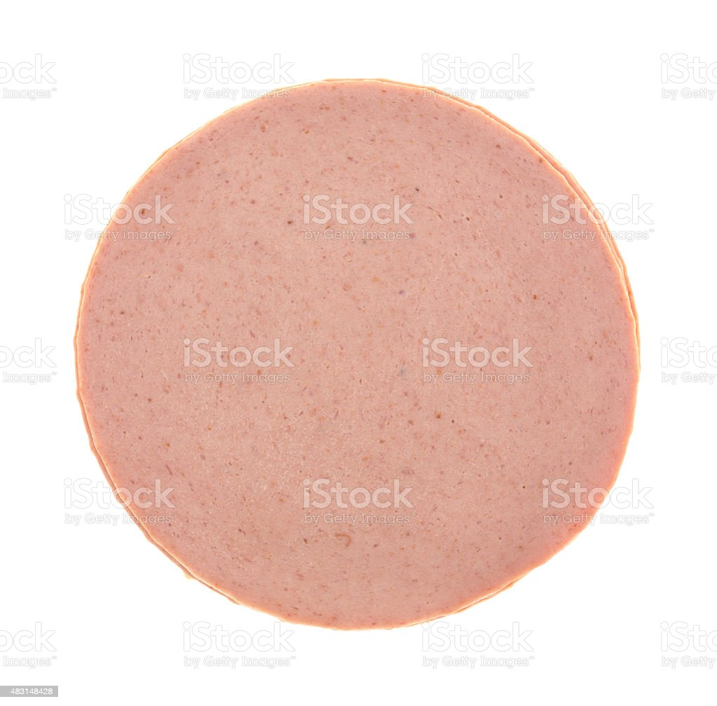 Top view of a stack of bologna stock photo