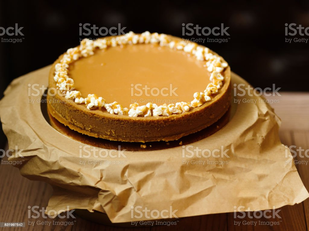 Top view of a sweet cake from shortbread and condensed milk on a stock photo
