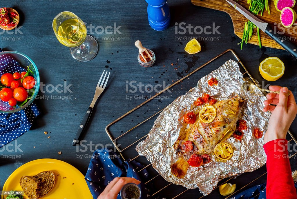 top view of  a Table setting  with different dishes stock photo