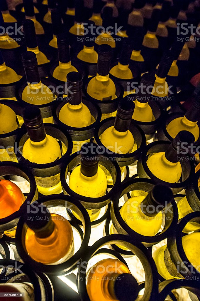 top view of a wine rack stock photo