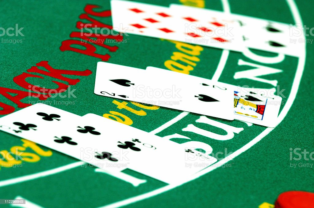 Top view of a winning blackjack hand royalty-free stock photo