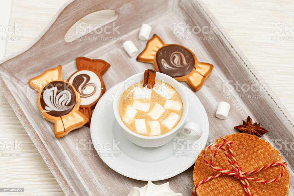 Top view of a wooden tray with coffee stock photo