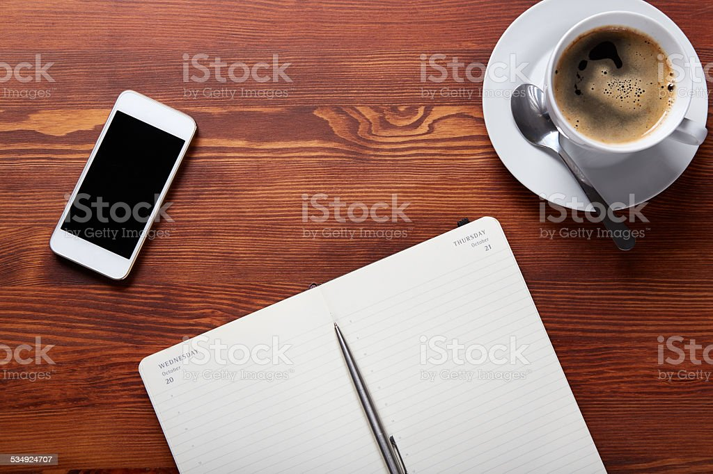 Top view of a work desk stock photo