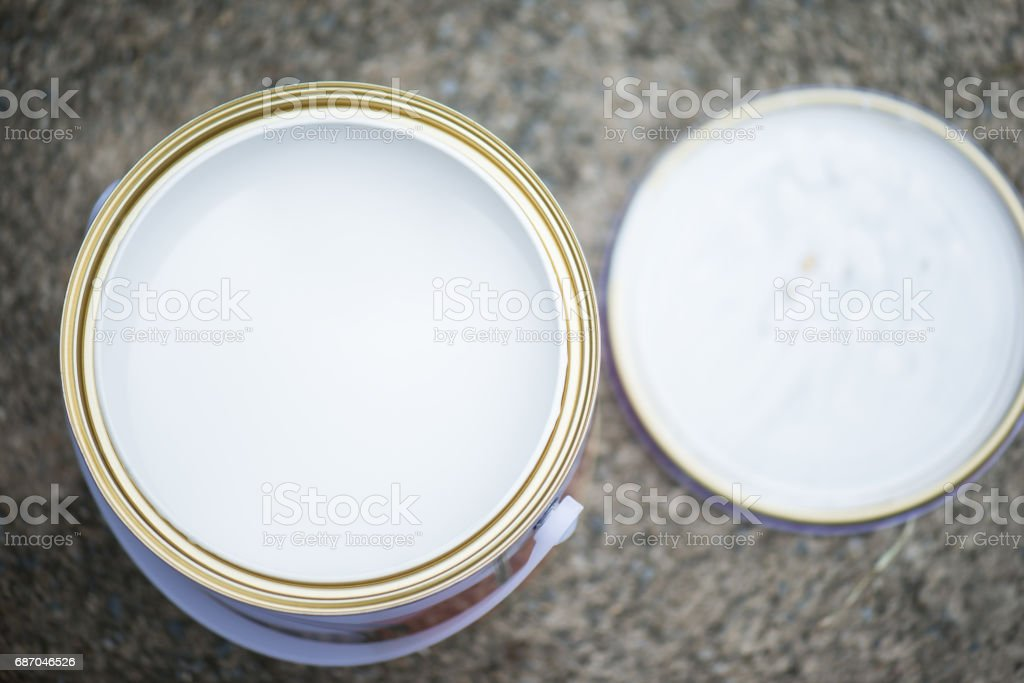 Top view of aluminum paint can stock photo