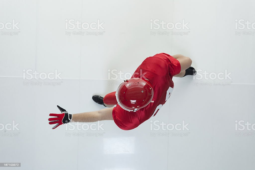 Top view of  American football player royalty-free stock photo