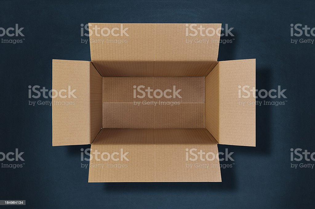 top view of an empty cardboard box stock photo